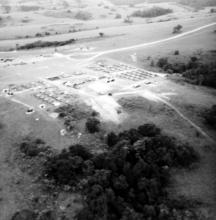 Camp from the air on the Nyika Plateau Malawi 1972