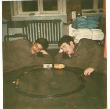 Scotty Barr on the right, sorry can't remember the guy on the left checking out some sofisticated equipment! circa 77/78