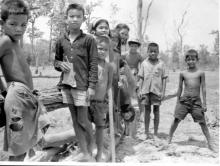 Kids At Kok Talat . Watching us build our air-field. Thailand operation crown.