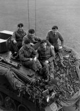 Members of HQ 32 Armd Engrs ready for recce. 1968-9