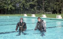 Steve and Jaaa training in the pool. Hohne Garrison Germany 1969
