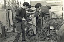 Jake Donnely, John Webber, John Glendinning (Ding) Concrete base for elevated OP Long Kesh